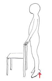 下腿三頭筋 椅子持って筋トレ