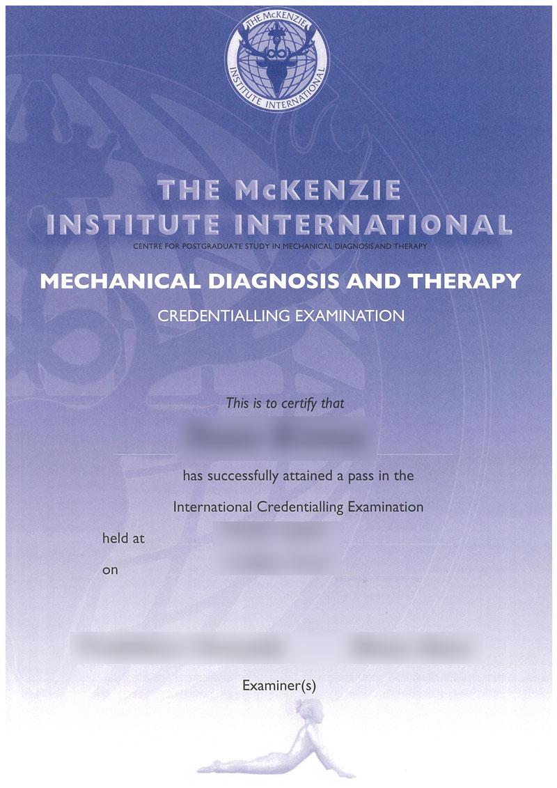 マッケンジー法の認定試験に合格したよ。「Credentialed MDT(認定セラピスト)」や「セミナー概要」も紹介